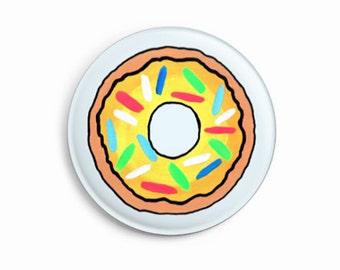 Donut Round Pin Badge 25mm - Doughnut Graphic Art Button - Pin - Cute Gift