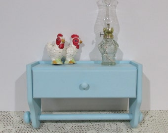 Wall Towel Shelf with Drawer~Kitchen Shelf with Towel Rack ~Robin Egg Blue ~ Upcycled ~ Cottage Décor ~ Farmhouse Kitchen ~Shabby Chic Shelf