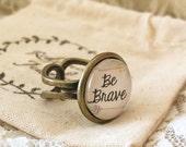 Adjustable Bronze Scripture Ring