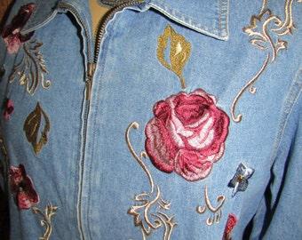 Graff ~ Denim Embroidered ~ Blazer ~ Vintage Mint ~ Women's Large ~ 100% Cotton