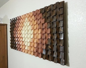 "Wood wall art, wood wall sculpture, wood wall art large, wood wall decor, modern wood art, geometric wood art, 24"" x 48"" Shipping included!"