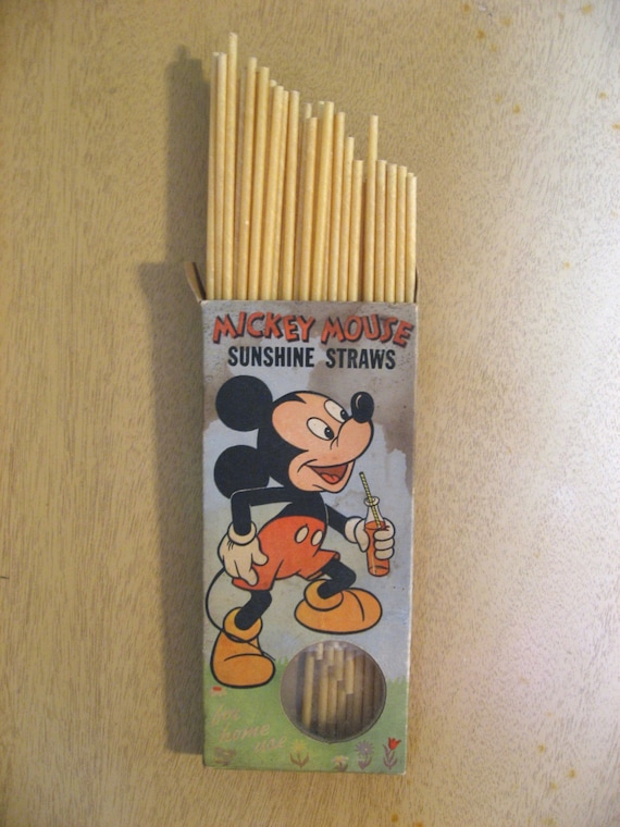 Mickey Mouse Sunshine Straws 1950s Paper Straws In Package