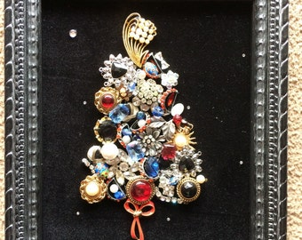 Vintage Jewelry Christmas Tree Wall Hanging
