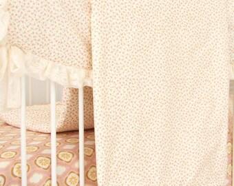 15% OFF SALE - Vanessa's Vintage Floral Blanket | Pink & Cream Baby Blanket