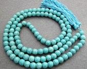 Tibetan Buddhist 108 Blue Turquoise Prayer Beads Mala Necklace