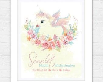 Birth Announcement Art - Nursery Decor - Bedroom Art - Unicorn Bedroom Decor - Newborn Print - Personalized Art!