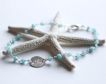 Wave Disc and Aqua Chalcedony Bracelet