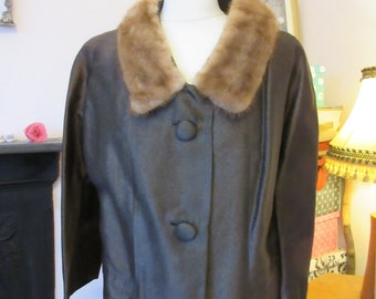 1950s Two Piece Skirt Suit with Real Fur Collar- Approx Size 14-16, Good Condition