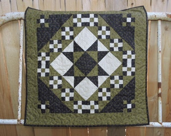 """Wall Warmer, Table Topper or Mini Quilt in Olive Green, Black and Cream    29"""" x 29"""""""