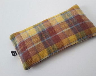Eye Pillow - Organic Lavender & Flax - Yellow, Brown and Blue Plaid