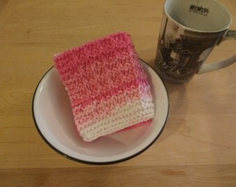 """Set of 3 Hand Knitted Dish Cloth/Wash Cloths """"Pinky Stripes"""" - housewarming gift, hostess gift, wedding gift, bridal shower gift"""