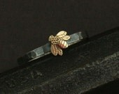 Queen Bee Ring--Honey Bee Mine--14K Yellow Gold Bee Ring--Silver Wedding Band--Nature Inspired Ring--Promise Ring--Hammered Silver Ring