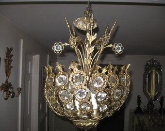French Solid Brass Blooming Basket 6 light Chandelier w/Large Inset Octagon Crystals & Florals...Stunning