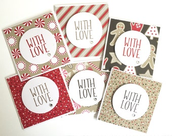 6 Handmade Mini 3x3 Christmas Note Cards Christmas Festive Cards with Enevlopes using Stampin'up Candy Cane Paper