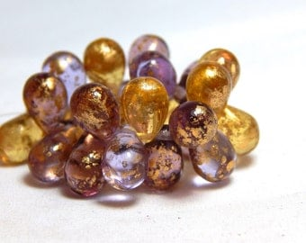 23 Drop Beads, Purple Beads, Gold Beads, Raindrop Beads, Venetian Beads, Teardrop Beads, Venetian Drop Beads, Old World Beads, T-100G