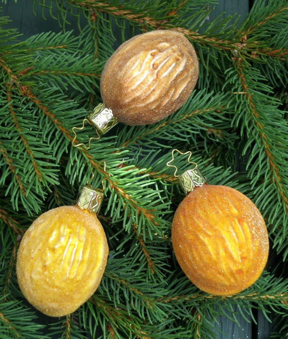 3 Frosty Walnut hand blown glass German ornaments