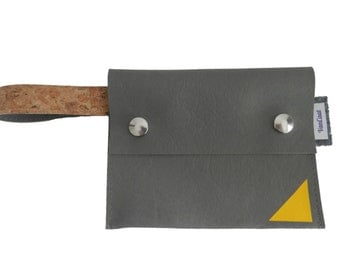 Pouch/than a wallet grey with yellow triangle