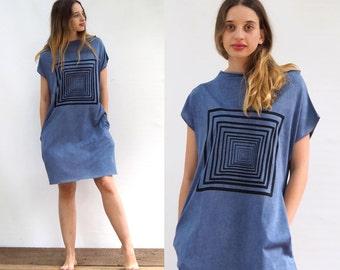Tricot Dress With Pockets and a Geometric print Blue Dress 100% cotton Jersey Silkscreen