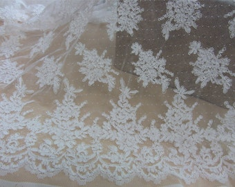 Blue Corded Lace Fabric,off white wedding lace fabric-LSMB010