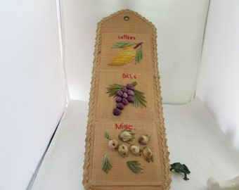 kitschy fruit decorated straw mail holder wall hanging letter holder bill holder mail sorter office decor office storage home office decor