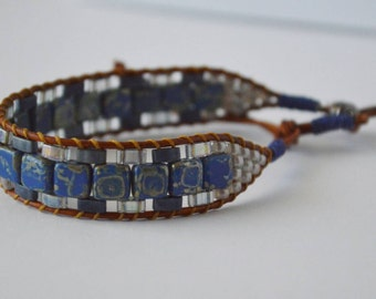 Blue and gray beaded breacelet