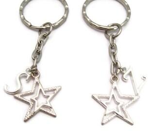 Star Keychain Set  Double Star Keychain Set Best Friends Keychain Set Keychains Mother Daughter Personalized Gift