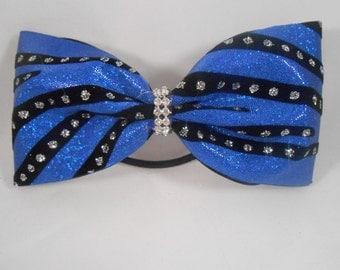 Tailless Cheer Bow Royal Blue Black Silver Rhinestone Center by Blingitoncheerbowz