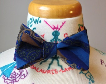 Self-tie reversible bowtie - two sided blue stripes and olive & mauve paisley