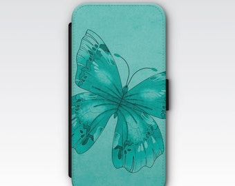 Wallet Case for iPhone 8 Plus, iPhone 8, iPhone 7 Plus, iPhone 7, iPhone 6, iPhone 6s, iPhone 5/5s, iPhone 4s - Blue Butterfly Wallet Case