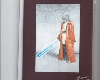 Hand made jedi grey tabby cat black pencil drawing print Birthday greeting card