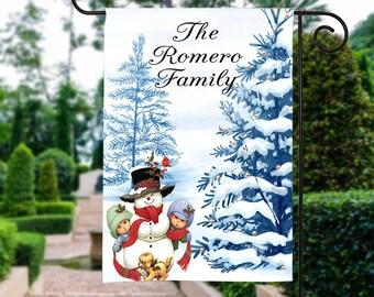 Christmas Garden Flag, Christmas Snowman Garden Flag, Christmas Yard Flag, Snowman Christmas Flag, Housewarming Gift, Christmas Decorations