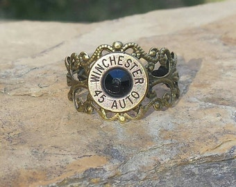 Bullet Jewelry Ring Handmade with Jet Black Swarovski Crystals