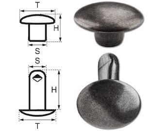 100 Sets Double Cap Iron (nickel free) Rivets 11mm (11/12/2), Rapid Rivet, Finish: Nickel-Antique