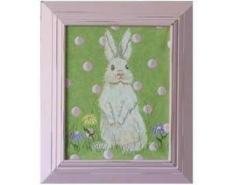 nursery art- bunny rabbit art- girls room decor- nursery decor- Easter decorations- Easter gift- pink and green - baby room- shower gift