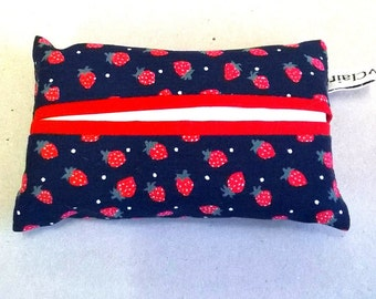 Tissue holder in navy with red strawberries, pocket tissue cover, travel tissues,