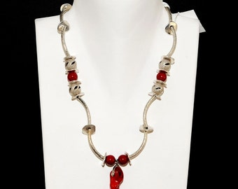 Necklace by silver plated steelelements and coral bamboo