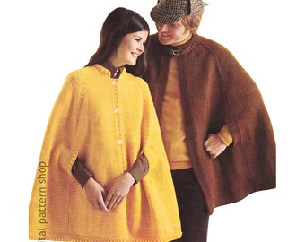 Cape Knitting Pattern Mens Cape & Womens Cape Pattern Poncho Arm Openings His and Hers Adult Cape PDF Instant Download - K106