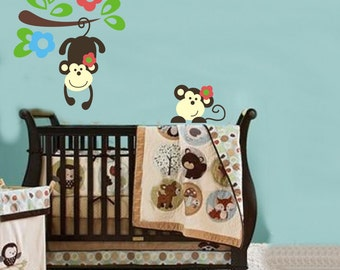 Removable Wall Stickers - Two Monkeys - AW1202
