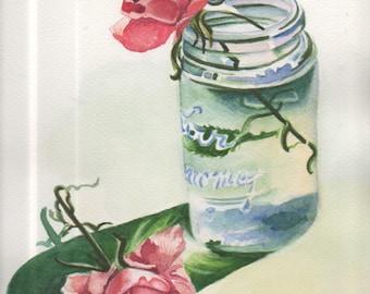 Mason Jar with a Rose