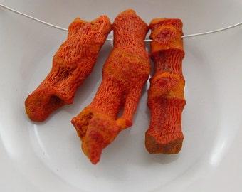 Sponge Coral, Branch Coral Bead.  Orange Red Sponge Coral. BoHo Chic.  - 3 Beads #3711