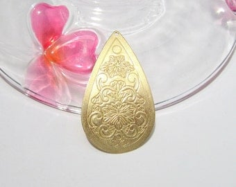 10pcs Raw Brass Large Teardrop Earring Pendant 42mm Raw Brass Vintage Style Stamping