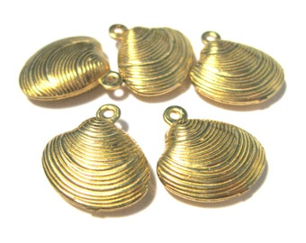 10pcs Raw Brass 3D Clamshell Charms Pendants