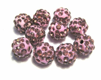 10pcs Light Amethyst Polymer Clay Rhinestone Beads Pave Disco Ball Beads - Grade A 10mm