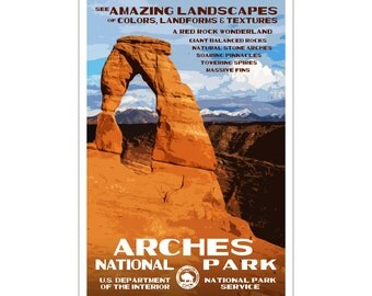 """Arches National Park WPA style poster. 13"""" x 19"""" Original artwork, signed by the artist. FREE SHIPPING!"""