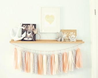 Cream Peach Tassel Garland, Peach Banner, Peach Nursery, Peach Birthday, Peach Wedding, Peach Cream Nursery, Peach Baby Shower, Peach Bridal