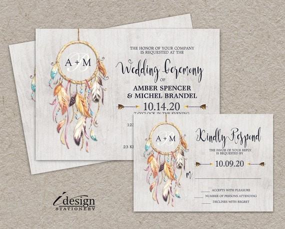 Boho Chic Wedding Invitations: Items Similar To Boho Chic Wedding Invitation Kit With