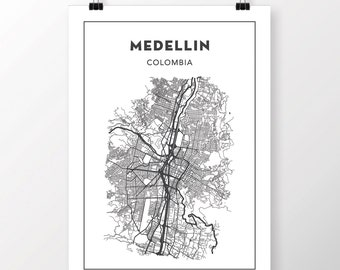 FREE SHIPPING to the U.S!! MEDELLIN Map Print