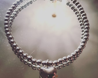 Small Heart bracelet with Sterling Silver Beads