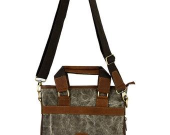 Handbag, Crossbody bag Sling bag leather canvas shoulder bag, fabric messenger bag, diaper bag Women's Leather Tote Bag, Leather canvas Bag