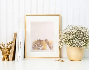 New York gold foil print/ new york skyline/ city art/ city print/ nyc print